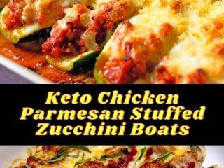 Keto Chicken Parmesan Stuffed Zucchini Boats #keto #ketorecipes #ketodiet #ketosis